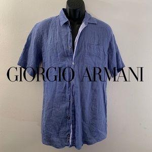 Armani Linen Short Sleeve Shirt Medium 100% flax